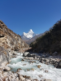 Ama Dablam towers above the river  OC