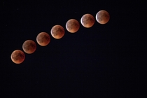 Amateur composite of the Blood Moon