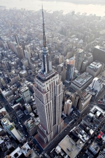 Amazing aerial perspective of the Empire State Building