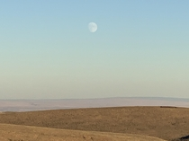 Amazing phenomenon Moon being up all day in high desert in South Eastern Oregon