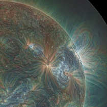 Amazing Psychedelic Picture of the Sun shot by NASAs Solar Dynamics Observatory in Extreme Ultraviolet Light