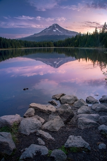 Amazing Reflections of Mt Hood on Lake Tryllium Mt Hood National Forest Oregon