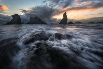 Amazing sea stacks of the Oregon Coast witness a beautiful sunset