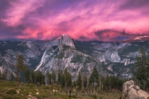 Amazing Sunset at Half Dome Yosemite National Park California by Steve Bond