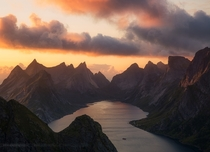 Amazing sunset view from the top of Reinebringen - Lofoten Norway  photo by Beboy Photographies
