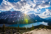 Amazing turquoise water at Peyto Lake in Banff National Park Canada