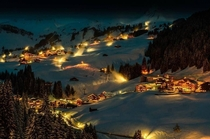 Amazing winter night in Damls Austria