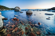 Amazingly clear water on the rocky east shore of Lake Tahoe Bonsai Rock Nevada