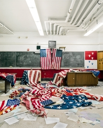 American flags I found scattered all over a classroom floor of an abandoned high school