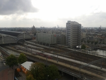 Amsterdam Centraal Station seen from the rooftop of the Port Authority building