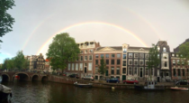 Amsterdam The Netherlands today with a wonderful rainbow
