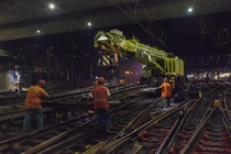 Amtrak employees work on a full replacement and renewal of track  at NYCs Penn Station
