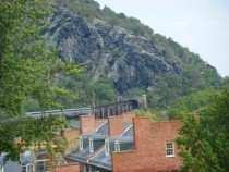 Amtrak Regional coming into Harpers Ferry WV through mountainside
