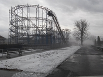 Amusement park in the fog