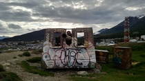 An abandoned  artillery piece in the southernmost city in the world