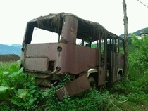 an abandoned bus in Trabzon Turkey