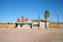 An abandoned cafe in the Mojave Desert Between Las Vegas and Los Angeles