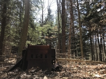 An abandoned cast iron stove in the middle of the woods I was hiking in this weekend Apparently someone was planning to build a cabin on this land brought the stove and never came back to build the cabin