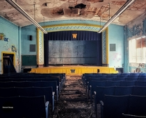 An abandoned elementary school auditorium