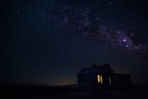 An abandoned farm house under the Milky Way