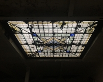 An abandoned hotel skylight