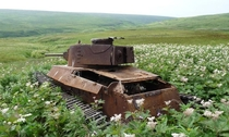 An abandoned Japanese tank Chi-Ha that has been there since WWII