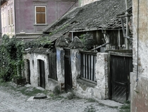 An abandoned medieval house in Sighisoara Romania