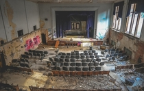 An abandoned middle school auditorium