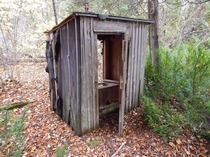 An abandoned outhouse in the north woods of Wisconsin