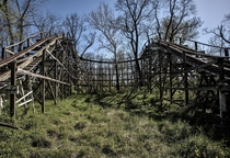 An abandoned roller coaster at Williams grove amusement park near Mechanicsburg Pennsylvania