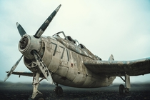 An abandoned Royal Navy plane for landing on boats