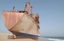 An abandoned ship off the coast of Mauritania