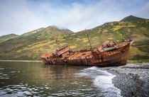 An abandoned ship on a shore of Kamchatka