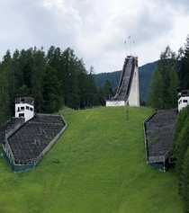 An abandoned ski jump from the  Winter Olympics held in Cortina dAmpezzo Italy Sorry for the quality I took it on my phone