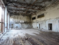 An abandoned sports hall in Prypiat