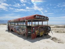 An abandoned spray painted bus in Utah near the Salt Flats