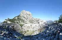 An abandoned theatre at the top of the world Termessos Turkey