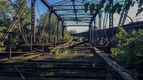An abandoned train bridge outside of Pittsburgh PA