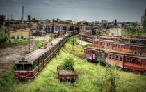 An abandoned train depot in Poland