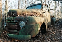 An abandoned truck in a farmers field by New Bern North Carolina