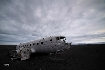 An abandoned US Military airplane in the stone desert of Iceland