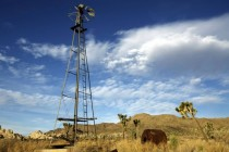 An abandoned windmill used to support mining activities withstands the test of time in the Mojave Desert  OC