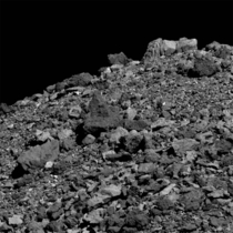 An abundance of boulders litters the surface asteroid  Bennu in this dramatic close-up from the OSIRIS-REx spacecraft
