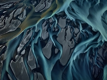 An aerial photograph of the Thjors River in Iceland