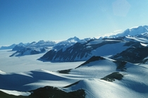 An aerial shot of the Transantarctic Mountains