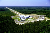 An aerial view of a Laser Interferometer Gravitational-wave Observatory LIGO Livingston Laboratory detector site