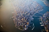 An aerial view of New York City