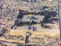 An aerial view of the Temple Mount one of the most important religious sites in the Old City of Jerusalem Dominated by three religious structures from the early Umayyad periodthe al-Aqsa Mosque the Dome of the Rock and the Dome of the Chain Photo Andrew S