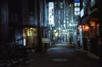 An alleyway in Kyoto at night  by CedPowder