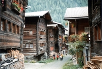 An alpine village in the Ltschental Valley Switzerland